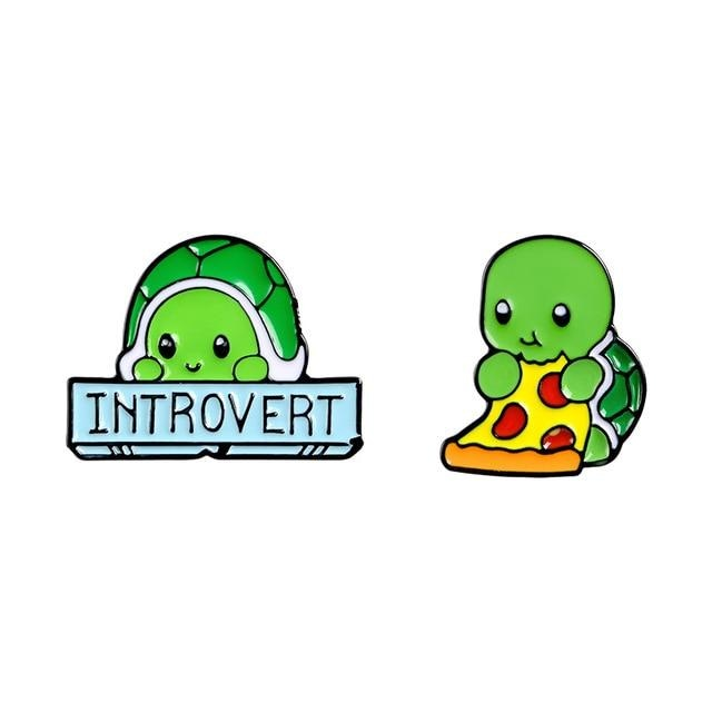 Introverted Turtle Pins - Set Of Both (Save $3) - pin
