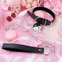 Vegan Leather Petplay Cat Collar & Leash Set BDSM Fetish Kink Toys Choker Necklace by DDLG Playground