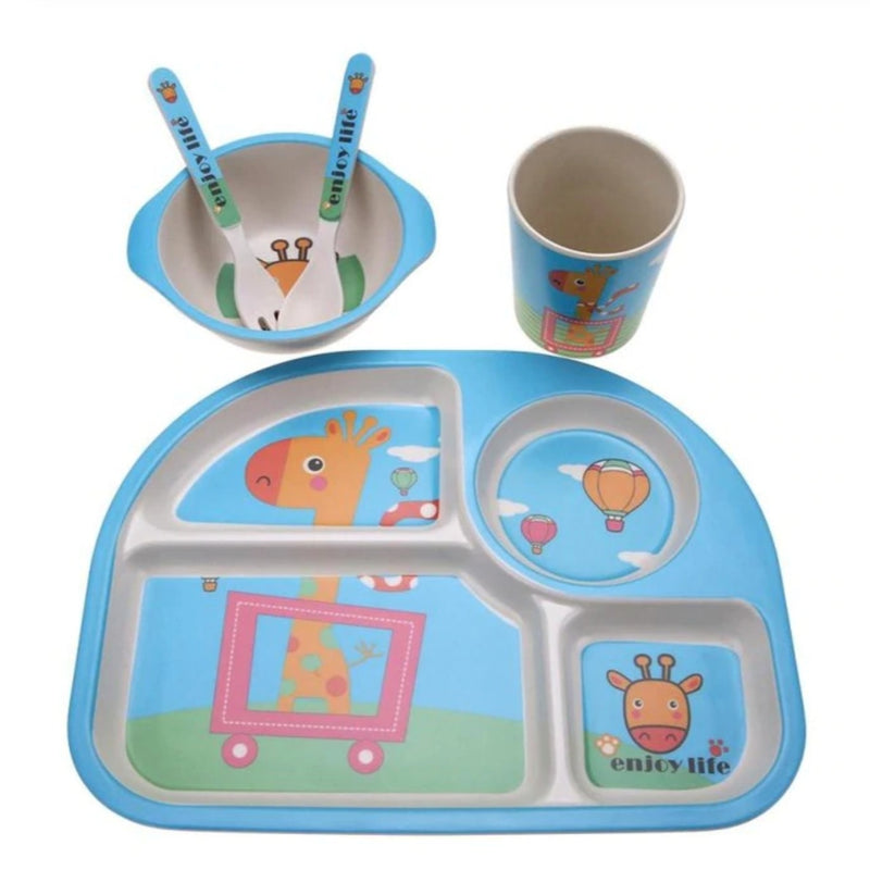 Joyful Giraffe Dinner Set - blue, bowl, bowls, bpa free, cartoon