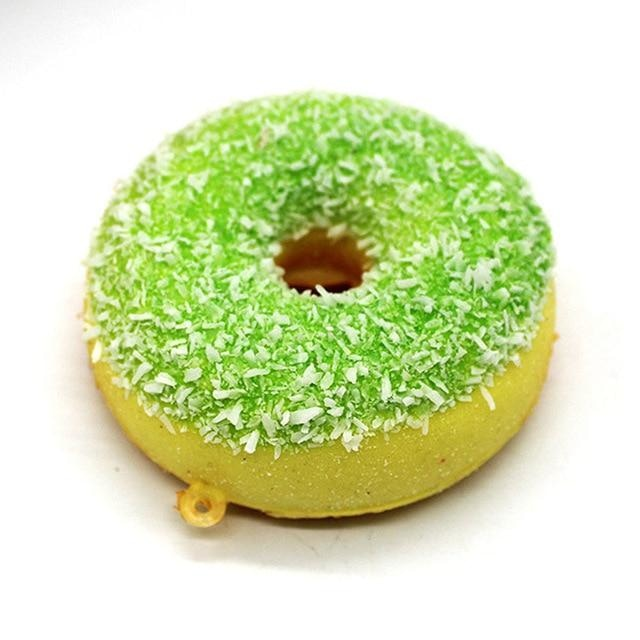 Kawaii Food Squishies - Green Sprinkle Donut - squishy