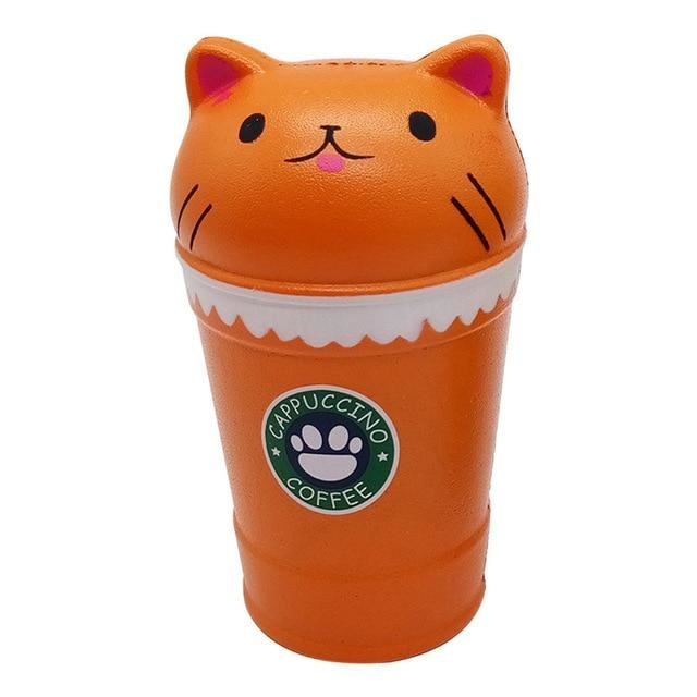 Kawaii Food Squishies - Orange Cat Coffee - squishy