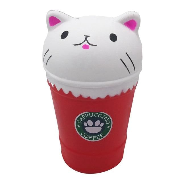 Kawaii Food Squishies - White Cat Coffee - squishy