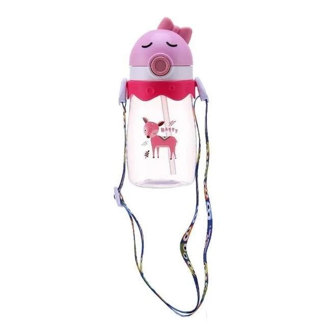 Kawaii Handlebar Sippies - Pink Red Deer 450ml - stuffed animal