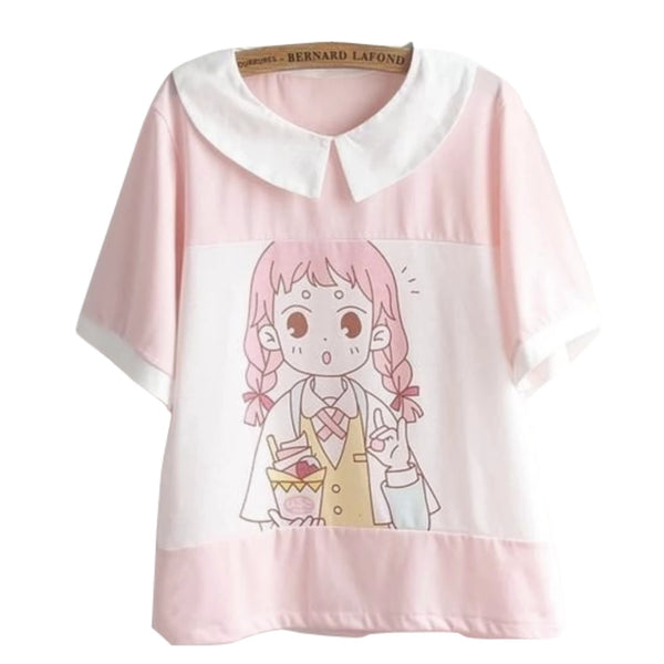 Milky Pink Pastel Anime Girl T-Shirt Sailor Blouse Fairy Kei Kawaii Fashion