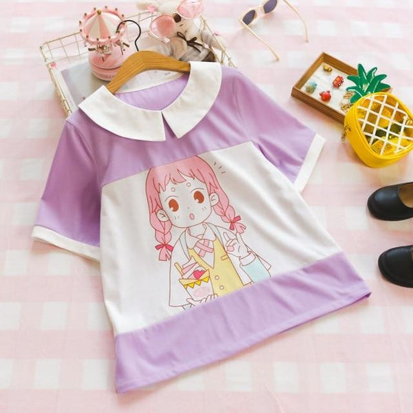 Milky Purple Pastel Anime Girl T-Shirt Sailor Blouse Fairy Kei Kawaii Fashion