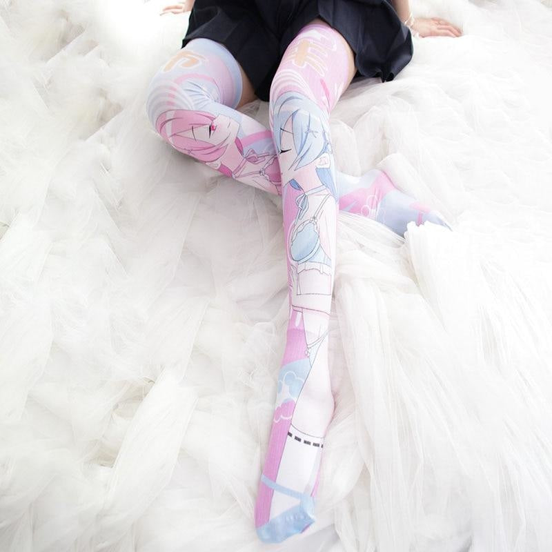 Hentai Yuri Anime Girl Stockings Kawaii Fairy Kei Socks Lolita Kissing Girls