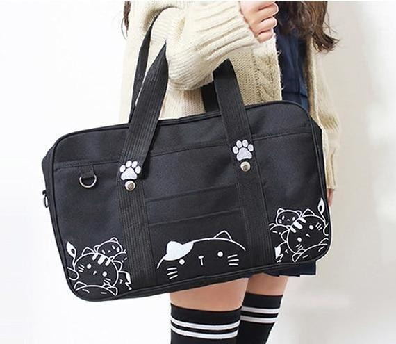 Black Kawaii Kitty Cat Duffle Bag Purse Handbag Messenger Tote