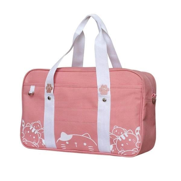 Pink Kawaii Kitty Cat Duffle Bag Purse Handbag Messenger Tote