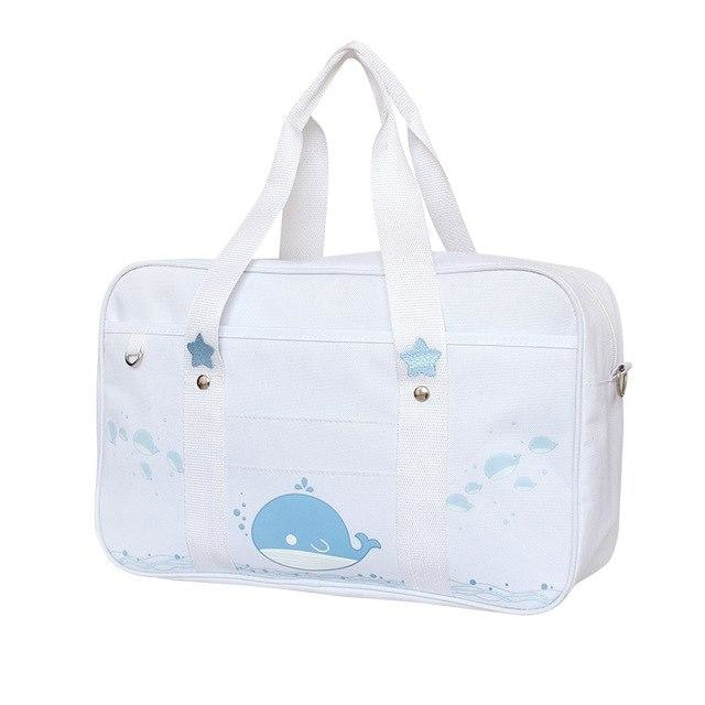 White Blue Whale Kawaii Duffle Bag Purse Handbag Messenger Tote