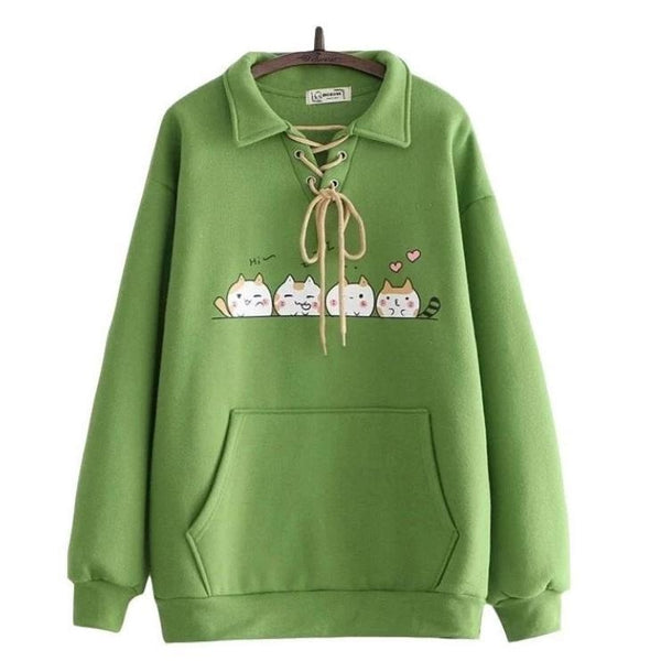Kitten Line Up Sweater - Green - sweater
