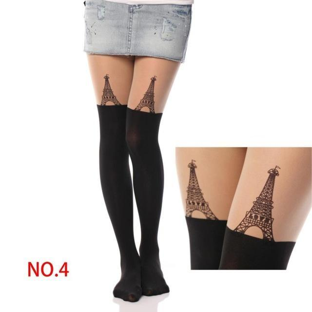 Kawaii Paris Eiffle Tower Pantyhose Stockings Nylon Socks Cute Harajuku Fashion by DDLG playground