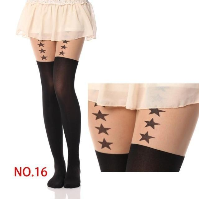 Kawaii Stars Pantyhose Stockings Nylon Socks Cute Harajuku Fashion by DDLG playground