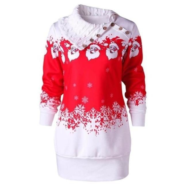 Knit Cowl Neck Santa Sweater - Red / XXL - sweater