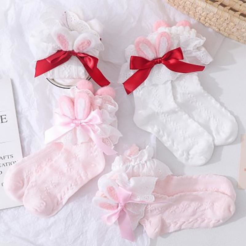 Lace Baby Bun Sockies - Pink With Ribbon - bunnies, bunny, bunny ears, feet, lace