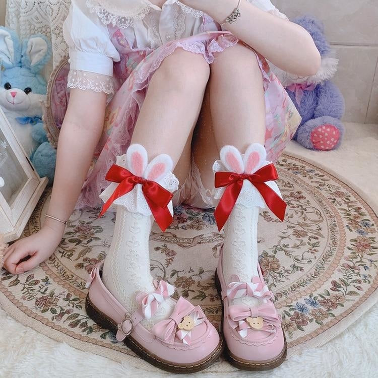 Lace Baby Bun Sockies - White With Red Ribbon - bunnies, bunny, bunny ears, feet, lace