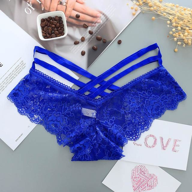 Lace Harness Panties - Blue - underwear