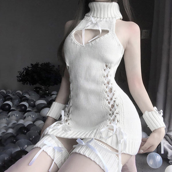 Lace Up Virgin Killer Sweater Dress - White - anime, bows, clothes, clothing, corset