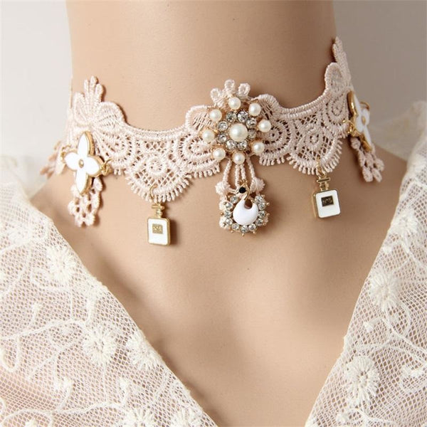 Elegant Pink Lace Victorian Collar Choker Necklace Dainty Pearls & Diamonds