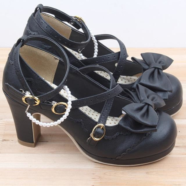Little Lady Lolita Heels - Black / 6 - age regression, bows, cat lolita, egl, fairy kei