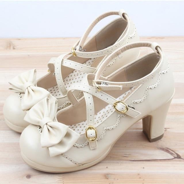 Little Lady Lolita Heels - Cream / 6 - age regression, bows, cat lolita, egl, fairy kei