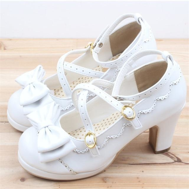 Little Lady Lolita Heels - White / 6 - age regression, bows, cat lolita, egl, fairy kei