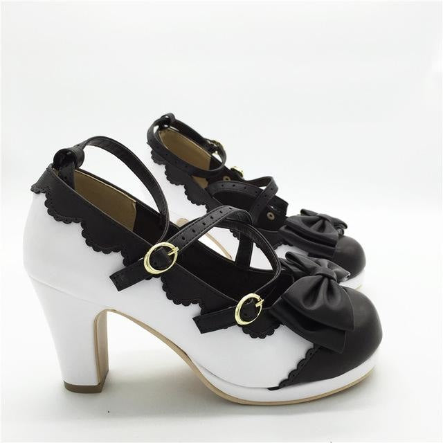 Little Lady Lolita Heels - White/Black / 6 - age regression, bows, cat lolita, egl, fairy kei