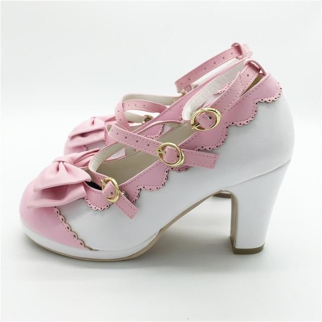 Little Lady Lolita Heels - White/Pink / 6 - age regression, bows, cat lolita, egl, fairy kei
