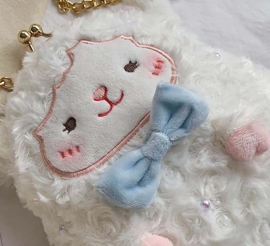 Little Lamb Plush Pouch - bags, clip bag, coin pouch, cute, fairy kei