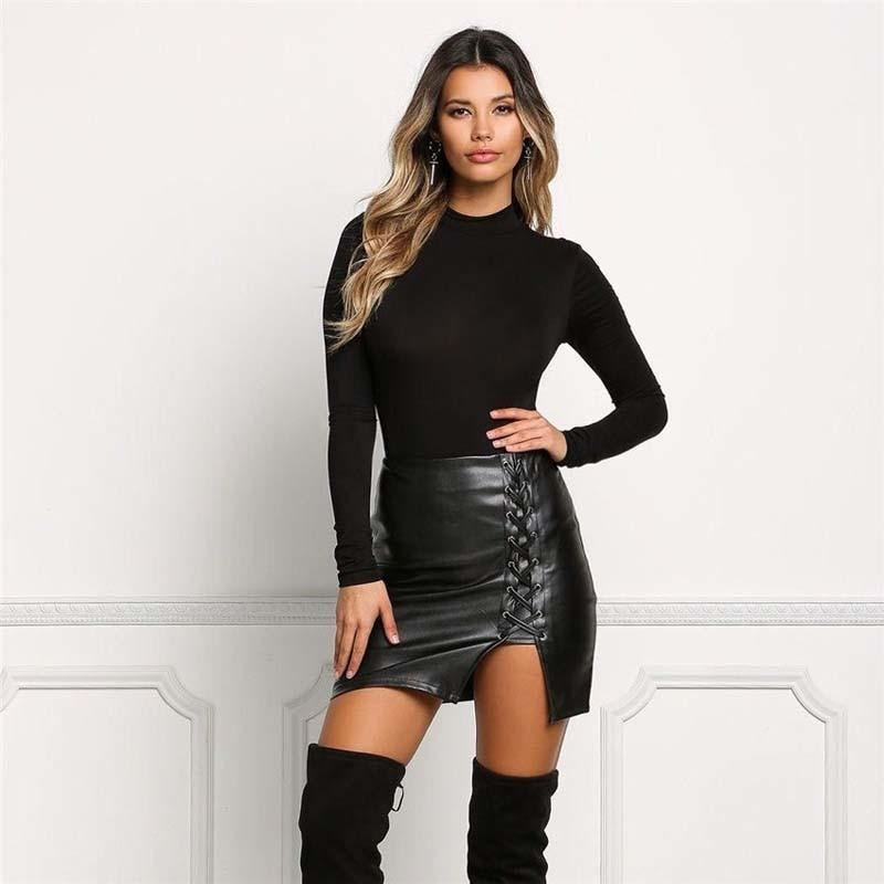 Latex Black Leather Lace Up Skirt Plus Size BDSM Fetish Kink S&M by DDLG Playground