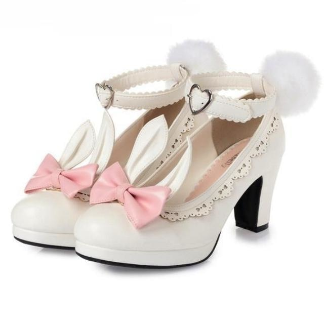 bunny ear lolita heels kawaii fashion shoes removable pom pom bunny rabbit tail clip on ears ankle strap sweet princess harajuku japan fashion by ddlg playground
