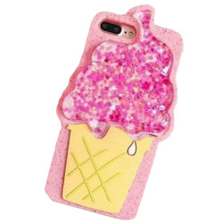 3d pink icecream cone phone case rubber silicone glitter quicksand liquid shimmer iphone case by kawaii babe
