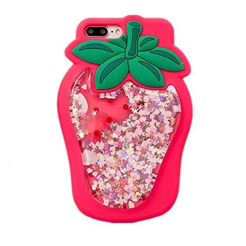 3d strawberry rubber silicone glitter quicksand liquid shimmer iphone case phone cases
