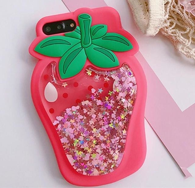 3d strawberry rubber silicone glitter quicksand liquid shimmer iphone case phone cases by kawaii babe