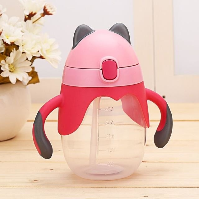 Little Fox Pink Sippy Cup Toddler Drinking Plastic Bottle With Straw Age Play ABDL Adult Baby Fetish by DDLG Playground