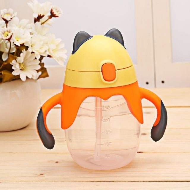 Little Fox Orange Sippy Cup Toddler Drinking Plastic Bottle With Straw Age Play ABDL Adult Baby Fetish by DDLG Playground