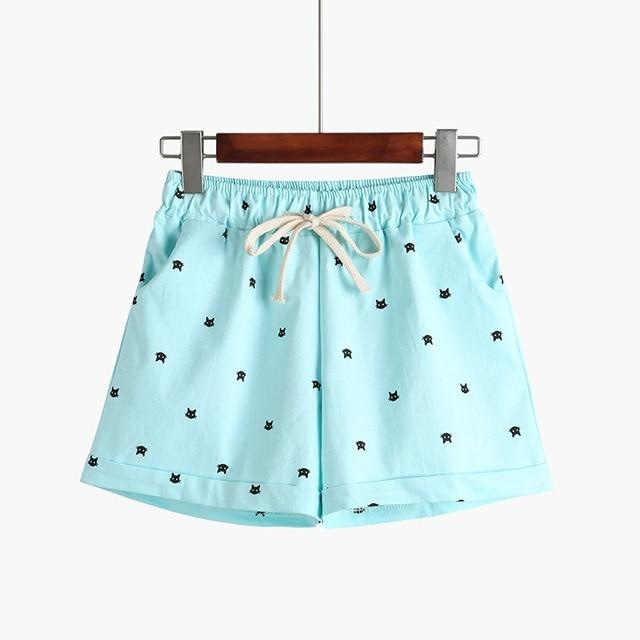 Little Kitten Shorts - Light Blue - shorts