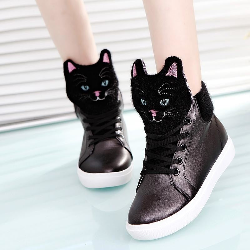black fuzzy furry cat hi top sneakers high tops shoes flat heel lace up soft kawaii kitten Kawaii Babe
