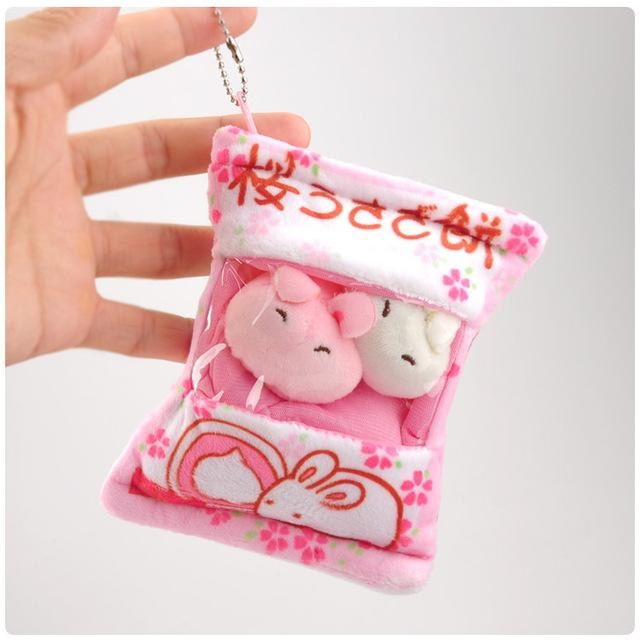 Littlest Bag Of Plushies - Pink Bunny - stuffed animal
