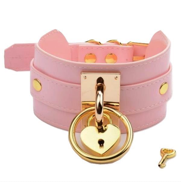 Locket O-Ring Collar - Pink & Gold - choker