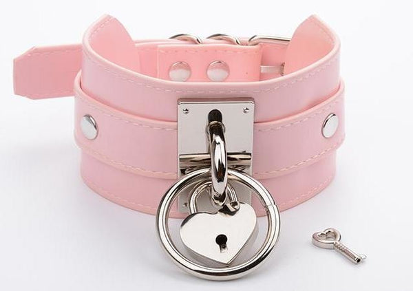 Locket O-Ring Collar - Pink & Silver - choker