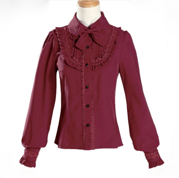 Lolita Collared Blouse - Burgundy / S - shirt