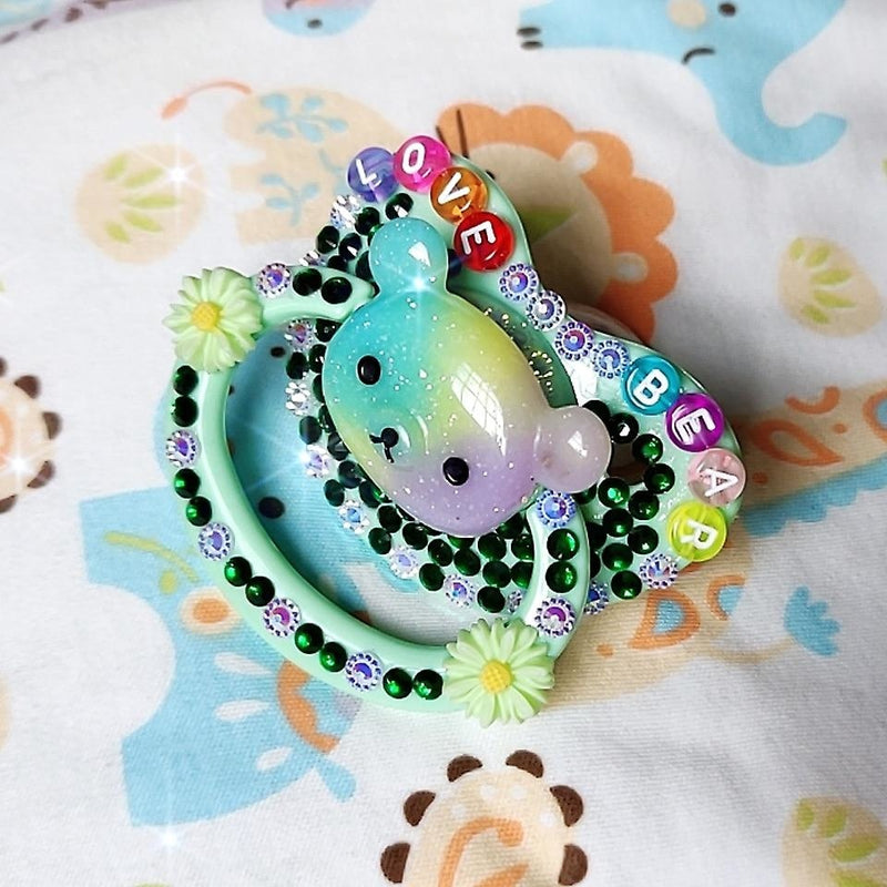Love Bear Deco Pacifier - abdl, adult baby, creepy cute, flowers, gothic