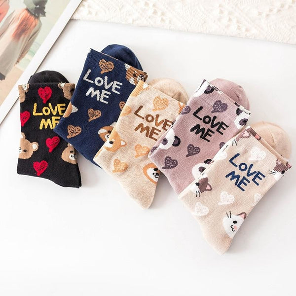 Love Me Sockies - ankle socks, baby bear, bears, cats