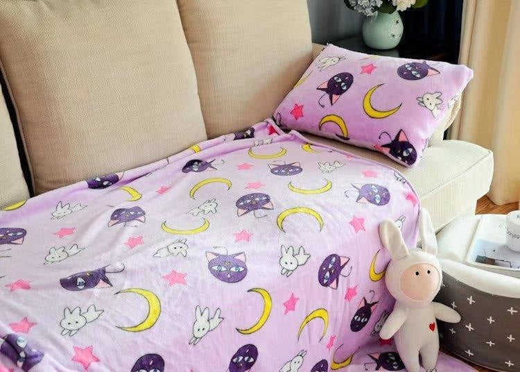 sailor moon fuzzy soft plush throw blanket comforter fabric linen bedding bedspread mahou shoujo kawaii pastel purple artemis luna cat by ddlg playground