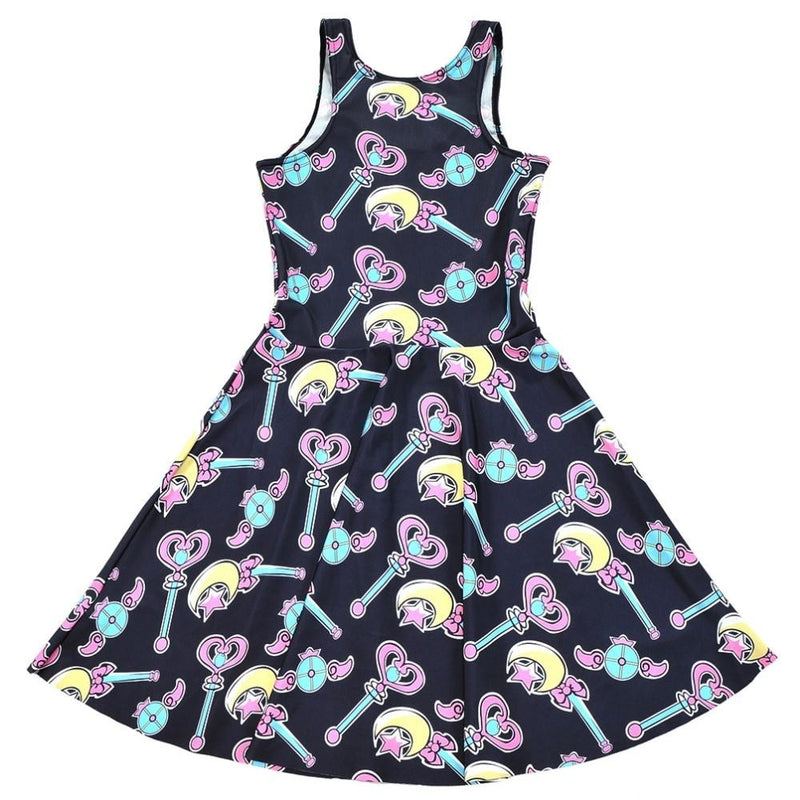 Magical Girl Sailor Moon Wand Skater Dress Pastel Goth Kawaii Fashion Plus Size by DDLG Playground