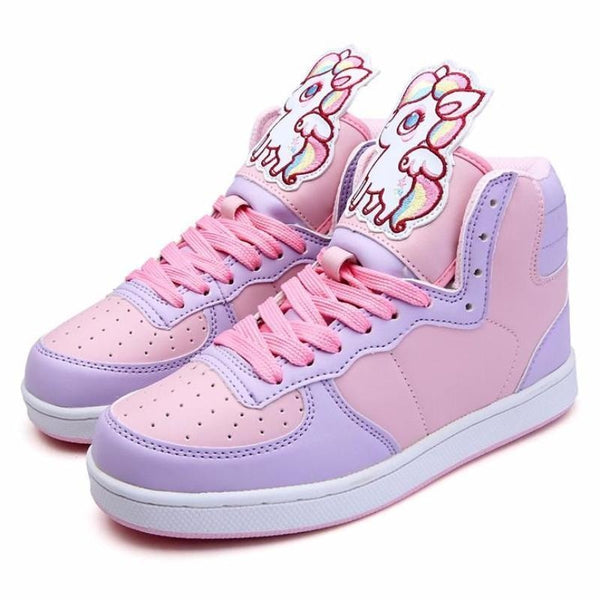 fairy kei pastel unicorn pegasus hi top sneakers high tops shoes candy colored sweet lolita yume kawaii harajuku japan fashion dd/lg cgl abdl age regression by ddlg playground