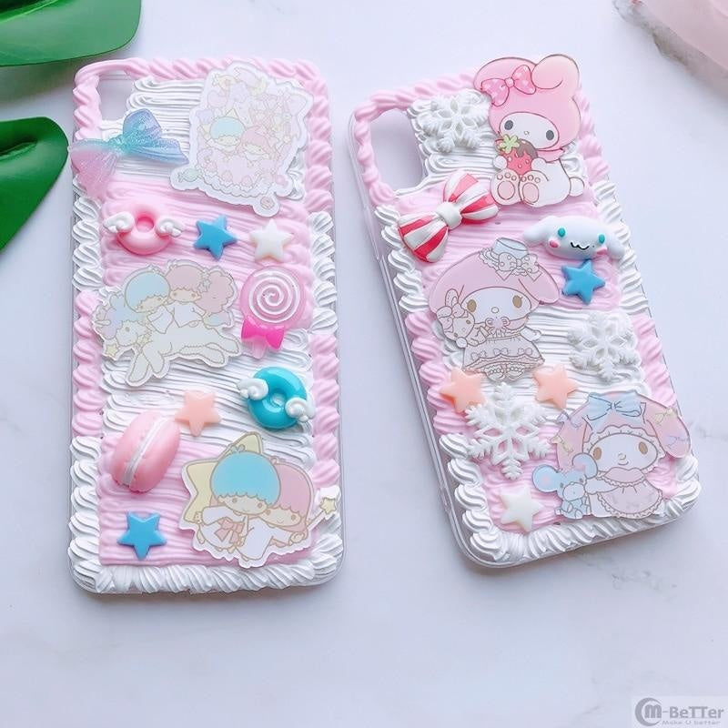 Pink My Melody Whipped Decoden Phone Case Android Phone Protector Kawaii Cute Fairy Kei Japan