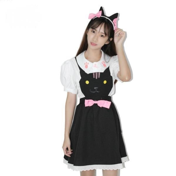 black kitty cat suspender dress jumper romper one piece skirt paw print cut out hollow straps coveralls overalls petplay kitten play cgl ddlg playground