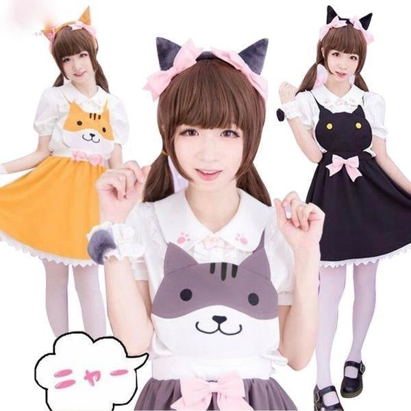 kitty cat suspender dress jumper romper one piece skirt paw print cut out hollow straps coveralls overalls petplay kitten play cgl ddlg playground