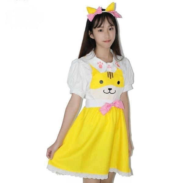yellow kitty cat suspender dress jumper romper one piece skirt paw print cut out hollow straps coveralls overalls petplay kitten play cgl ddlg playground